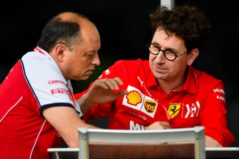 Frederic Vasseur, Team Principal, Alfa Romeo Racing and Mattia Binotto, Team Principal Ferrari