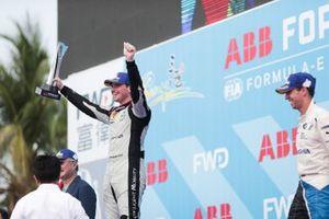 Oliver Rowland, Nissan e.Dams, 2nd position, celebrates his maiden Formula E podium finish