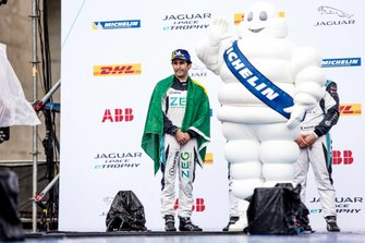 Sérgio Jimenez, Jaguar Brazil Racing, on the podium with the Michelin Man