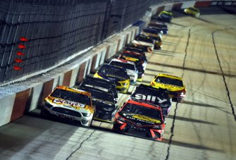 Martin Truex Jr., Joe Gibbs Racing, Toyota Camry leads Ryan Newman, Roush Fenway Racing, Ford Mustang