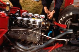 A Ford DFV V8 engine in the back of a Brabham BT49
