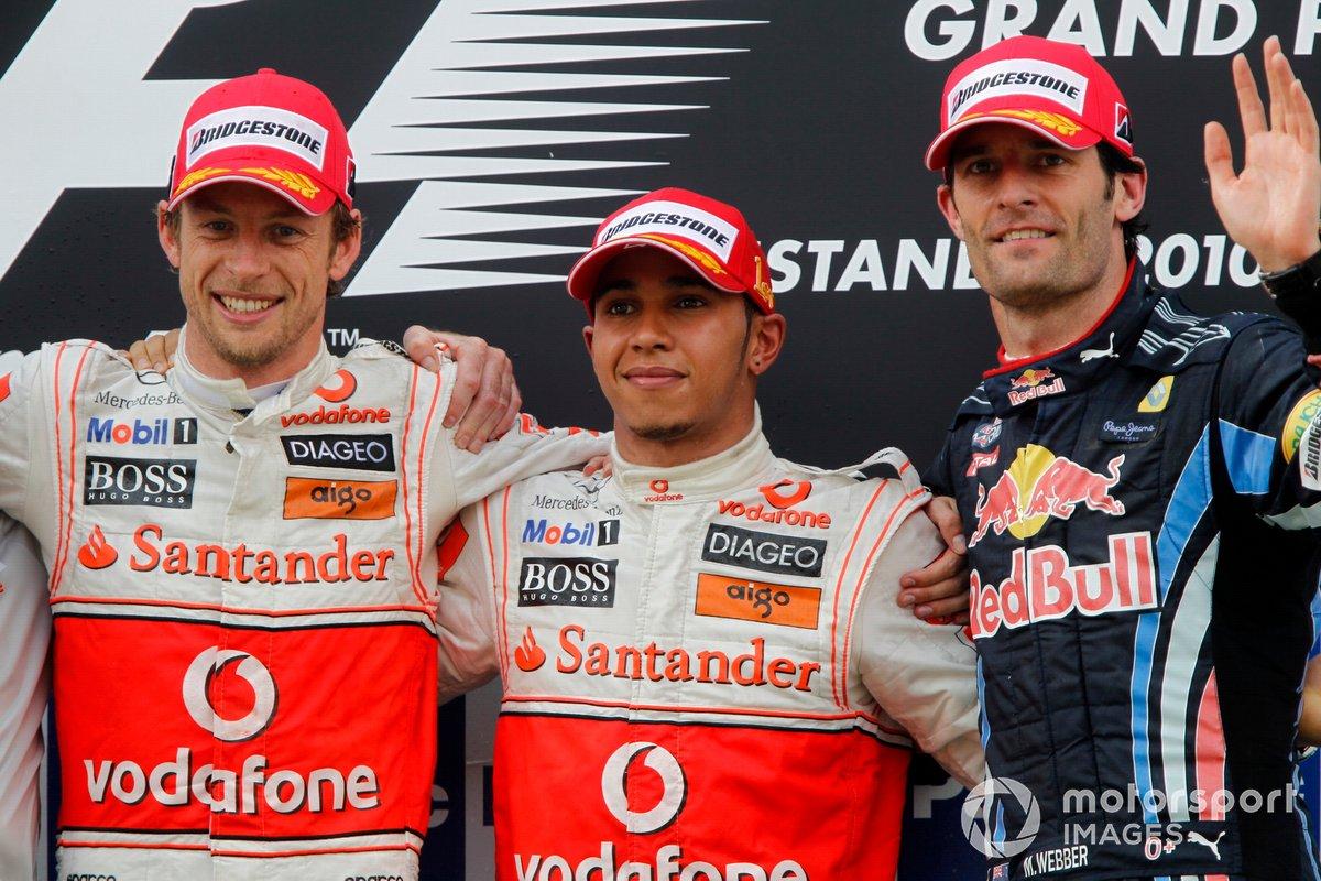 Podium: 2. Jenson Button, McLaren - 1. Lewis Hamilton, McLaren - 3. Mark Webber, Red Bull Racing