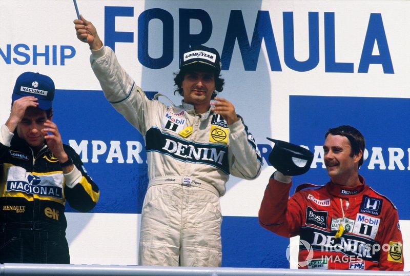 Nelson Piquet, Williams, Ayrton Senna, Lotus, Nigel Mansell, Williams