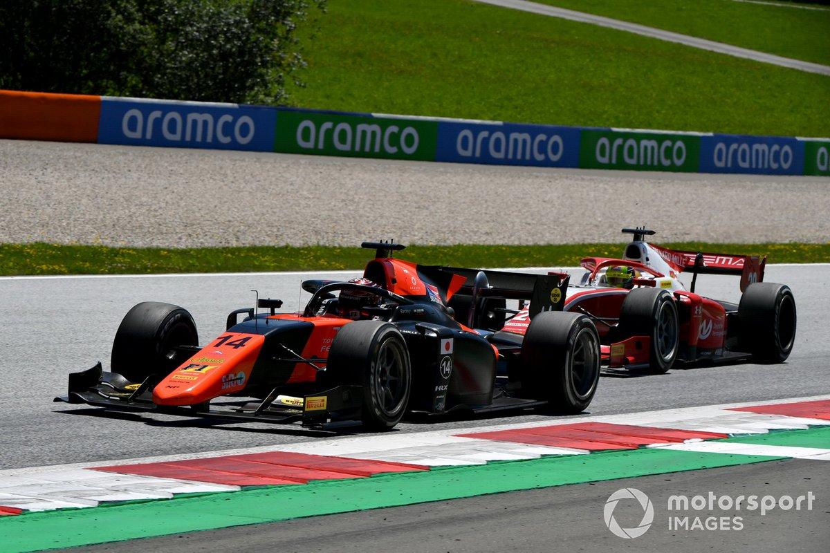Nobuharu Matsushita, MP Motorsport, y Mick Schumacher, Prema Racing