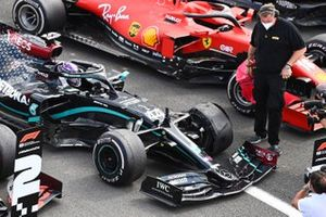 Lewis Hamilton, Mercedes F1 W11, 1st position, arrives in Parc Ferme with a puncture