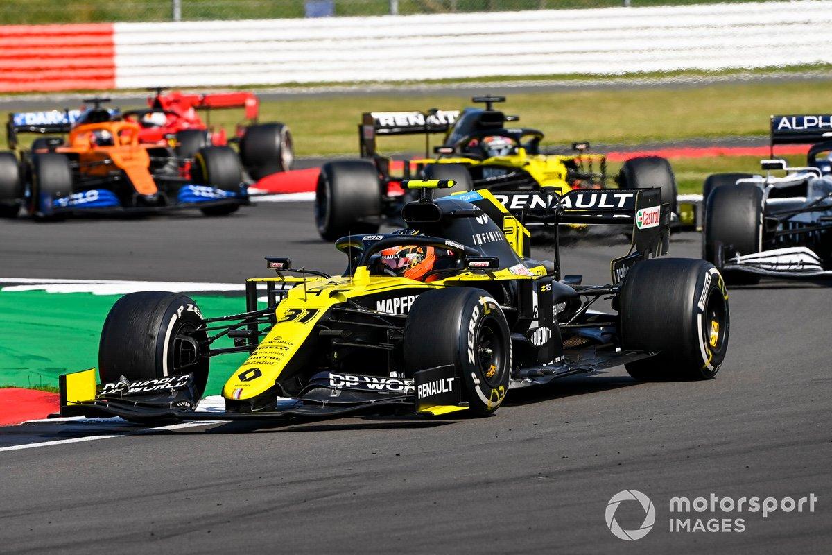 Esteban Ocon, Renault F1 Team R.S.20, Daniil Kvyat, AlphaTauri AT01, Daniel Ricciardo, Renault F1 Team R.S.20, Carlos Sainz Jr., McLaren MCL35