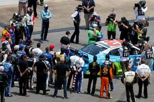 Nascar drivers stand in solidarity with Darrell Wallace Jr., Richard Petty Motorsports, Chevrolet Camaro before the Nascar Cup race