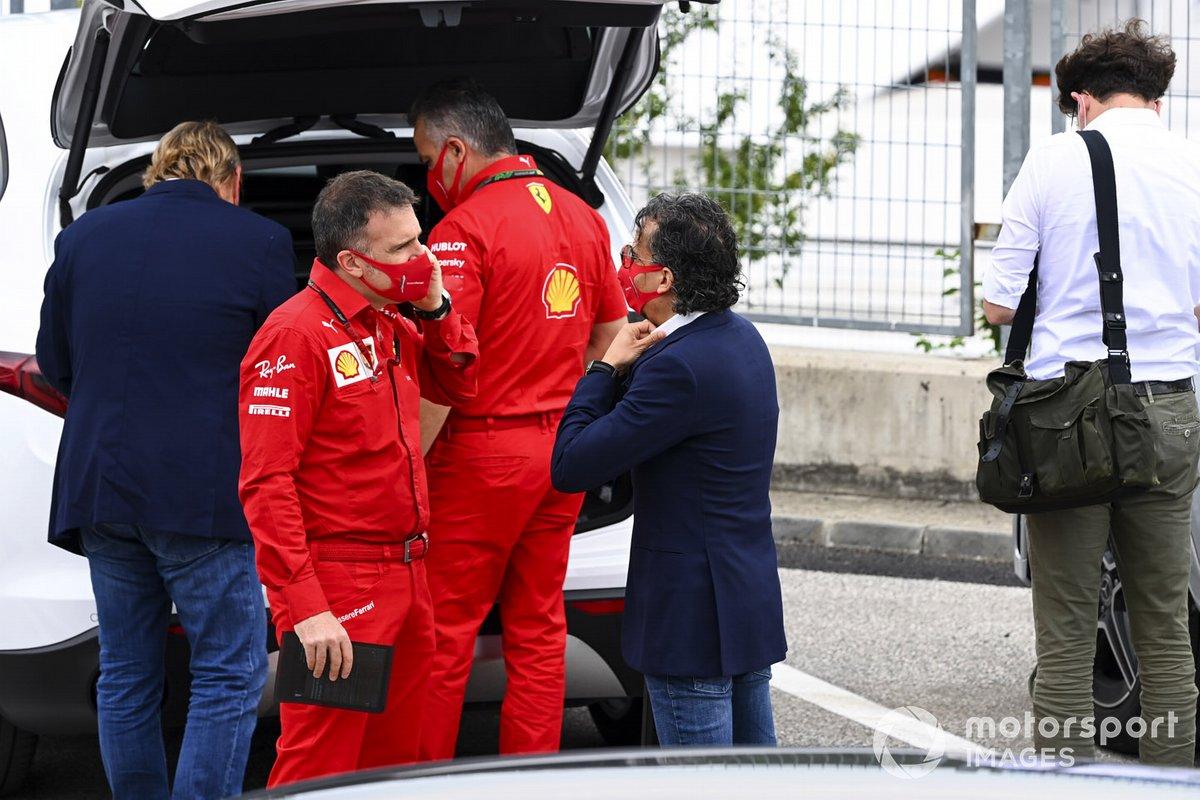 Laurent Mekies, Sporting Director, Ferrari, arrives at the circuit