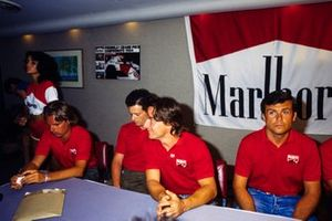 Keke Rosberg, René Arnoux, Mauro Baldi and Patrick Tambay at a Marlboro press conference