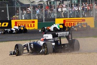 Rubens Barrichello, Williams FW33 sort de piste au départ