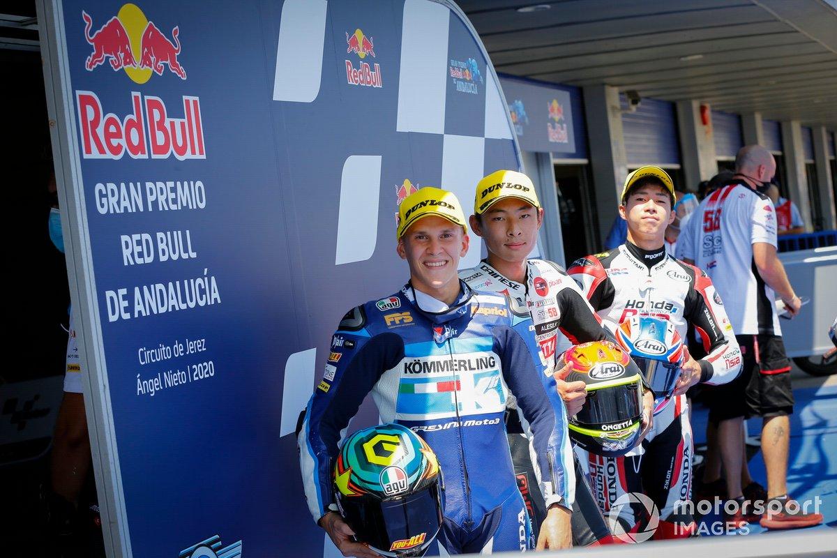 Top 3 tras la Q2: Gabriel Rodrigo, Gresini Racing, Tatsuki Suzuki, SIC58 Squadra Corse, Ai Ogura, Honda Team Asia