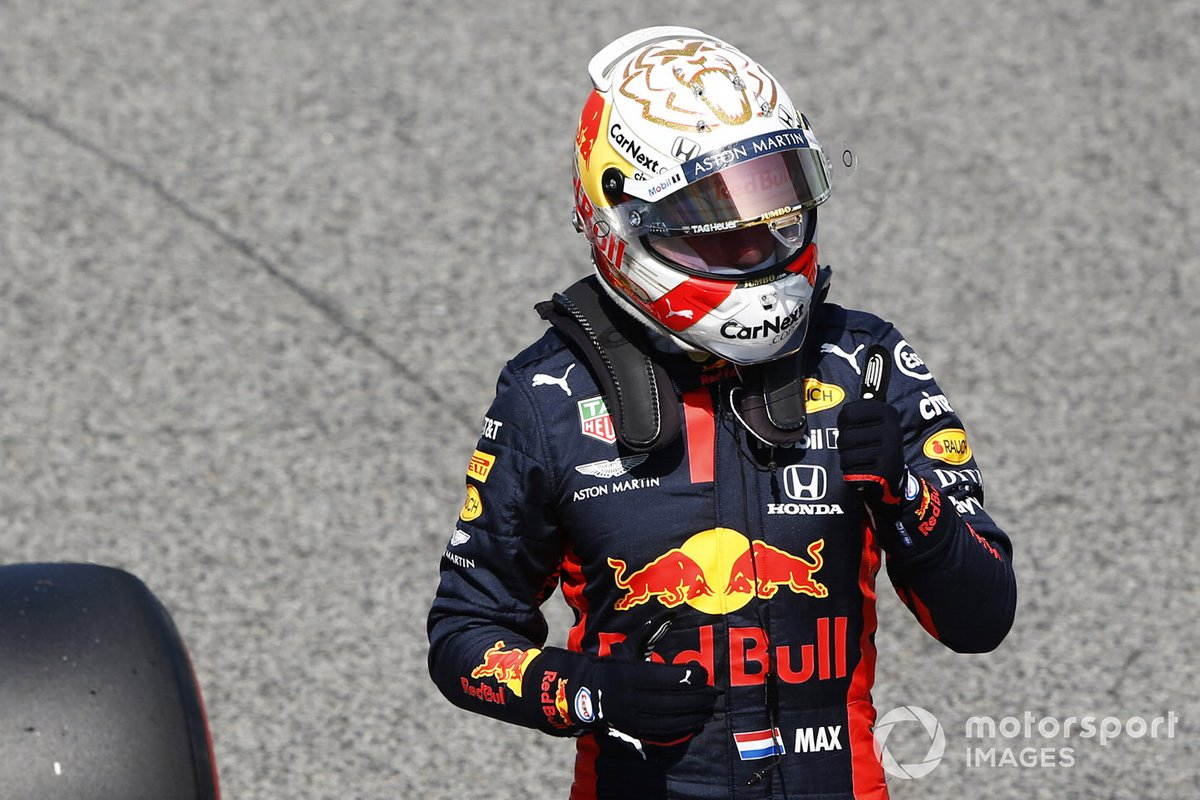 Max Verstappen, Red Bull Racing, exits his car in parc ferme after qualifying in third place