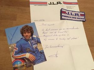 Jan Lammers, brief en foto met handtekening