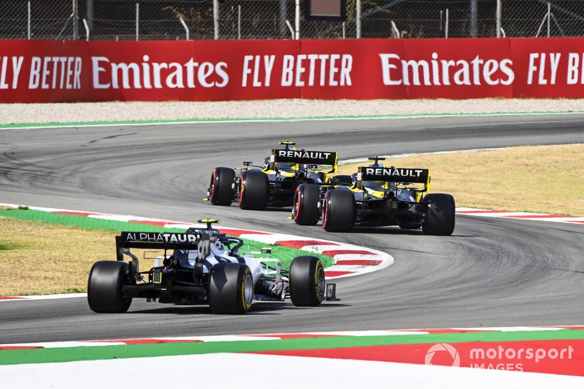 Pierre Gasly, AlphaTauri AT01, Daniel Ricciardo, Renault F1 Team R.S.20 e Esteban Ocon, Renault F1 Team R.S.20