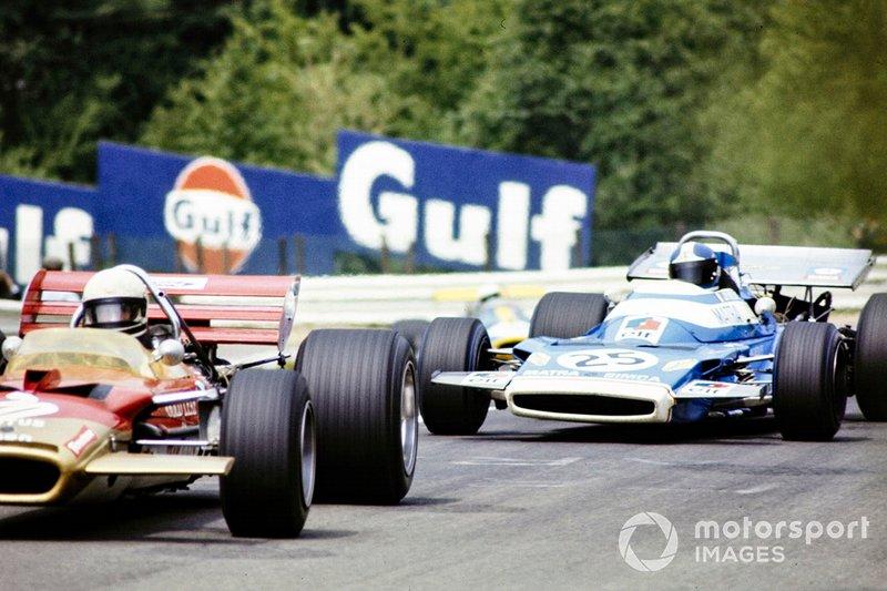 Jochen Rindt, Lotus 49C Ford devant Jean-Pierre Beltoise, Matra MS120