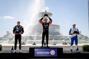 Alex Palou, Chip Ganassi Racing Honda, Race winner Patricio O'Ward, Arrow McLaren SP Chevrolet, Josef Newgarden, Team Penske Chevrolet