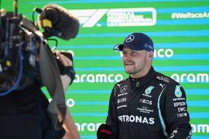 Valtteri Bottas, Mercedes, is interviewed in Parc Ferme after Qualifying