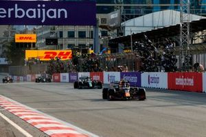 Sergio Perez, Red Bull Racing RB16B, 1st position, takes victory to the delight of his team on the pit wall
