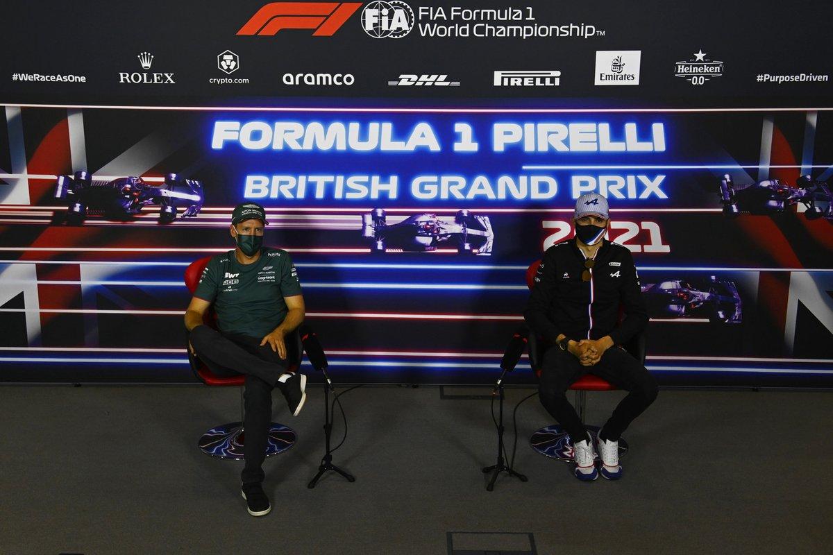 Sebastian Vettel, Aston Martin, and Esteban Ocon, Alpine F1, in the press conference