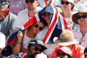 Fans of Lewis Hamilton, Mercedes, in a grandstand