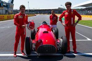 Charles Leclerc, Ferrari, Marc Gene, Mattia Binotto, Ferrari Team Principal with 1951 Ferrari 375
