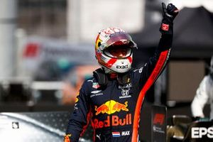 Max Verstappen, Red Bull Racing, celebrates on the grid after Qualifying