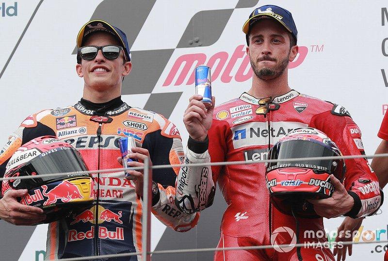 Podio: ganador de la carrera Andrea Dovizioso, Ducati Team segundo lugar Marc Márquez, Repsol Honda