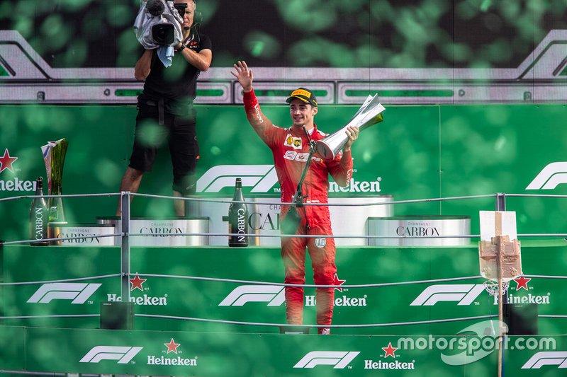 Podium: race winner Charles Leclerc, Ferrari