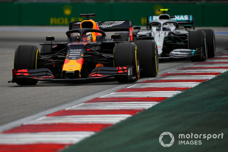Max Verstappen, Red Bull Racing RB15, leads Valtteri Bottas, Mercedes AMG W10