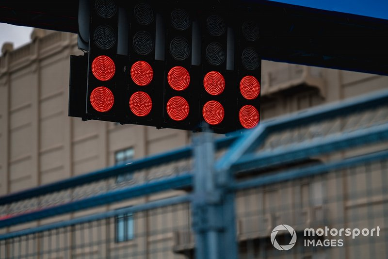 Red lights on the start line
