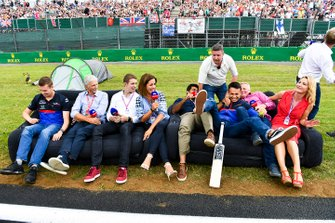 Daniil Kvyat, Toro Rosso, Damon Hill, Sky TV, Paul di Resta, Sky, TV, Natalie Pinkham, Sky TV, Karun Chandhok, Sky TV, David Croft, Sky TV, Alexander Albon, Toro Rosso, Johnny Herbert, Sky TV and Rachel Brookes, Sky TV on a sofa