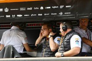 Andreas Seidl, Team Principal, McLaren, and Zak Brown, Executive Director, McLaren, on the pit wall