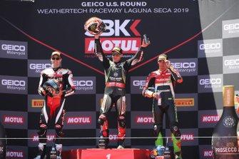 Jonathan Rea, Kawasaki Racing Team, Chaz Davies, Aruba.it Racing-Ducati Team, Toprak Razgatlioglu, Turkish Puccetti Racing, Podium