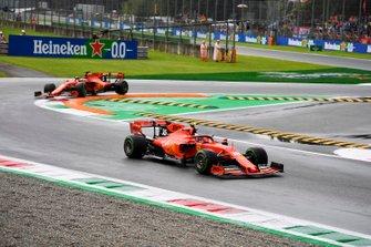 Charles Leclerc, Ferrari SF90 leads Sebastian Vettel, Ferrari SF90