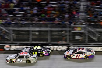 Darrell Wallace Jr., Richard Petty Motorsports, Chevrolet Camaro United States Air Force, Jimmie Johnson, Hendrick Motorsports, Chevrolet Camaro Ally and Denny Hamlin, Joe Gibbs Racing, Toyota Camry FedEx Freight