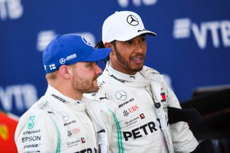Valtteri Bottas, Mercedes AMG F1, 2nd position, and Lewis Hamilton, Mercedes AMG F1, 1st position, in Parc Ferme