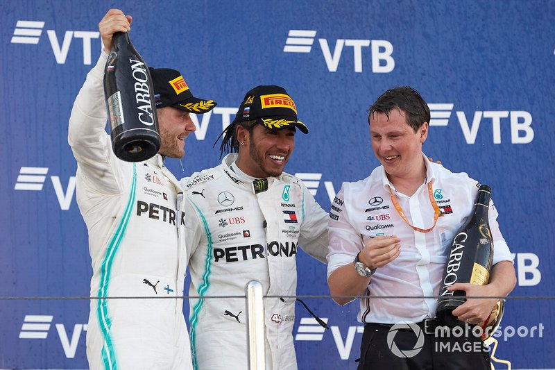 Valtteri Bottas, Mercedes AMG F1, 2nd position, Lewis Hamilton, Mercedes AMG F1, 1st position, and Fred Judd, Chief Engineer Trackside, Mercedes AMG F1, on the podium