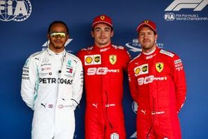 Polesitter Charles Leclerc, Ferrari, second place Lewis Hamilton, Mercedes AMG F1, third place Sebastian Vettel, Ferrari