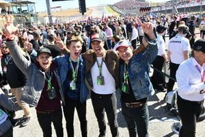 The cast of TV show 13 Reasons Why, actors Timothy Granaderos, Tyler Barnhard, Ross Butler and Justin Prentice, on the grid