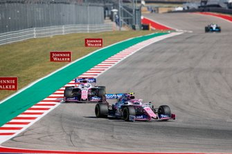 Lance Stroll, Racing Point RP19, leads Sergio Perez, Racing Point RP19
