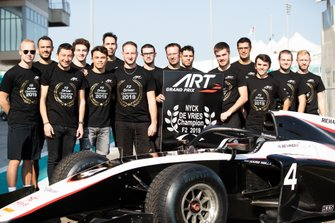 ART Grand Prix celebrate winning FIA Formula 2 Drivers championship with Nyck De Vries, ART Grand Prix