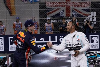 Max Verstappen, Red Bull Racing, congratulates Lewis Hamilton, Mercedes AMG F1, on securing pole