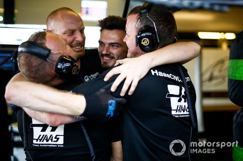 Haas F1 Team mechanics in the garage