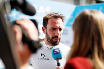 Jean-Eric Vergne, DS Techeetah talks to the media