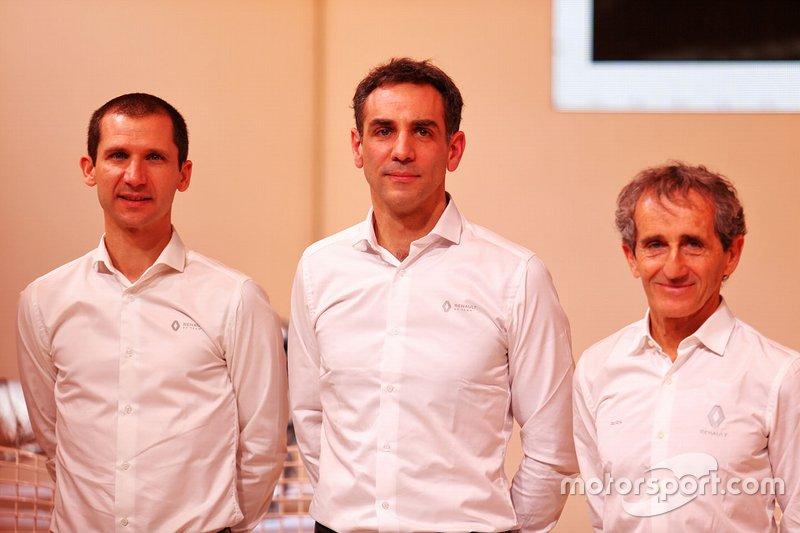 Remi Taffin, Renault Sport F1 Engine Technical Director; Cyril Abiteboul, Renault Sport F1 Managing Director; Alain Prost, Renault F1 Team Non-Executive Director