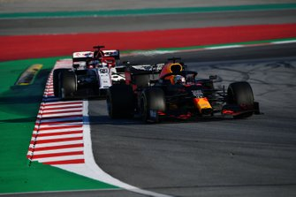 Max Verstappen, Red Bull Racing RB16 leads Antonio Giovinazzi, Alfa Romeo Racing C39