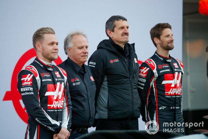 Kevin Magnussen, Haas F1 Team, Gene Haas, Owner and Founder, Haas F1 Team, Guenther Steiner, Team Principal, Haas F1 Team and Romain Grosjean, Haas F1 Team