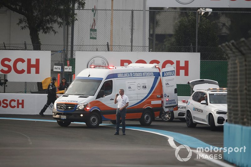 The ambulance stands ready to take Daniel Abt, Audi Sport ABT Schaeffler from the scene of his accident
