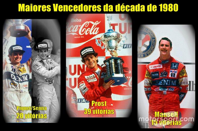 Os maiores vencedores da década de 1980 da Fórmula 1