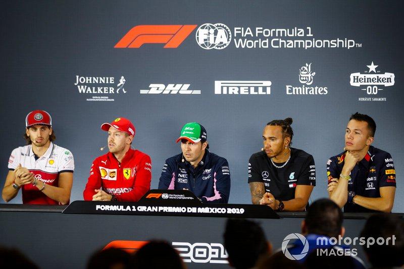 Antonio Giovinazzi, Alfa Romeo Racing, Sebastian Vettel, Ferrari, Sergio Perez, Racing Point, Lewis Hamilton, Mercedes AMG F1 and Alex Albon, Red Bull Racing en rueda de prensa